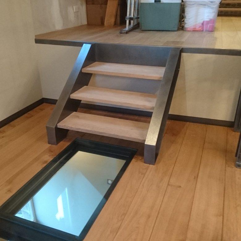 escalier bois sol transparent atelier des métaux normandie manche metal