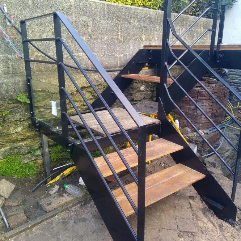 escalier terrasse bois metal extérieur normandie manche atelier des métaux